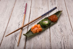 Creative sushi set Japanese food, salmon, chuka Stock Image
