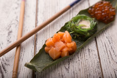 Creative sushi set Japanese food, salmon, chuka Stock Photos