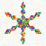 Creative Symbol Festive Snowflake of Rainbow Triangles. Stock Images