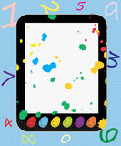 Creative Tablet PC for Kids Colorful Thumbprints. Tablet PC  with colorful thumbprints buttons for kids Stock Images