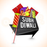 Creative Tag for Happy Diwali celebration. Creative Tag design with colorful firecrackers for Indian Festival, Shubh Diwali (Happy Diwali) celebration Stock Image