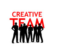 Creative Team. Silhouettes in front of creative team text vector illustration