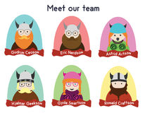 Creative team character set. Nerds, vikings, geeks characters. Vector illustration of nerd and geek team. Funny character set vector illustration