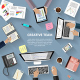Creative team concept. Modern flat design creative team concept for e-business, web sites, mobile applications, banners, corporate brochures, book covers Stock Photo