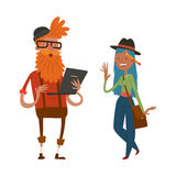 Creative team people hipster business landing page website profile design studio designer art-director character set Stock Photos