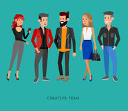Creative team people. Teamwork, art director and designer. Programmer and boss team leader, group portrait creative team. Design studio people, creative job Stock Photo