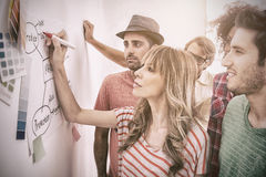 Creative team watching coworker add to flowchart. On whiteboard with colour samples Royalty Free Stock Image