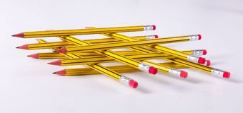 Creative Team Work. As stripes Yellow and black pencil with eraser stock photos