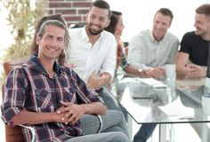Creative team at a working meeting royalty free stock photography
