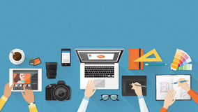 Creative team. Working together at office desk, teamwork and advertising concept stock illustration