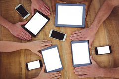 Creative team working together on a tablets and smartphones Royalty Free Stock Photo
