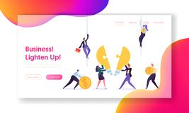 Creative Teamwork Business Innovation Concept Landing Page. Male and Female Character Hold Money Sign. People stock illustration