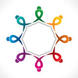 Creative teamwork icon design by colorful people concept Stock Images