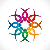 Creative teamwork icon design by colorful people concept Royalty Free Stock Image