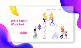 Creative Teamwork Idea Business Innovation Concept Landing Page. Young People Character Collecting Puzzle Piece. Of Light Bulb Website or Web Page. Motivation stock illustration