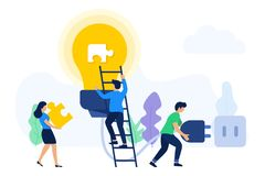 Creative teamwork seeking ideas and solutions stock illustration