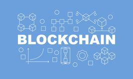 Creative technology banner made with block chain icons and word BLOCKCHAIN inside on blue background. Vector illustration in flat style Royalty Free Stock Photography