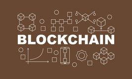 Creative technology banner made with block chain icons and word BLOCKCHAIN inside on brown background. Vector illustration in flat style Stock Image
