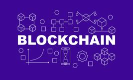 Creative technology banner made with block chain icons and word BLOCKCHAIN inside on purple background. Vector flat style illustration Royalty Free Stock Photos