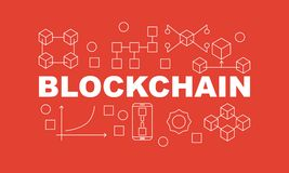 Creative technology banner made with block chain icons and word BLOCKCHAIN inside on red background. Vector illustration in flat style Stock Image
