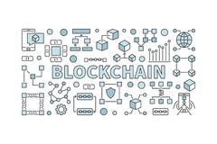 Creative technology banner made with block chain icons and word. BLOCKCHAIN inside on white background Stock Photo
