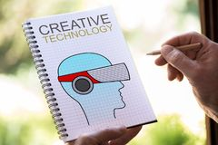 Creative technology concept on a notepad. Hand drawing creative technology concept on a notepad Royalty Free Stock Photo