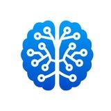 Creative technology human brain with neural bonds icon - vector vector illustration