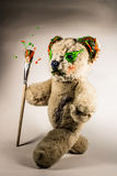 Creative teddy bear walking with paintbrush Royalty Free Stock Photos
