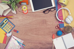 Creative teenage desk hero header. Top view of a creative teenage desk hero header Stock Photography