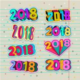 Creative teenagers patchwork with new year 2018 number pin design. Pop art colors. Stock Photo