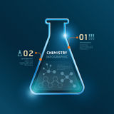 Creative template chemistry test tube banner line . Royalty Free Stock Photo