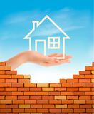 Creative Template Design for Real Estate. Hand holding abstact house. Vector Flyer vector illustration