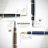 Creative template with fountain pen writing informations. Creative template with fountain pen writing information, can be used for infographics and banners Stock Photos