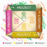 Creative template infographic with colorful pencils and flow cha Royalty Free Stock Photography