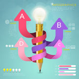 Creative template infographic with pencil and arrows Stock Photography