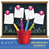 Creative template infographic with pencils and flow char Royalty Free Stock Photography