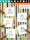 Creative template infographic with pencils writing on post-it. Over colorful background Royalty Free Stock Photography