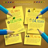 Creative template infographic with post-it and pencil. Over bulletin board Stock Photo