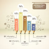 Creative template with pencil bar chart Royalty Free Stock Photo