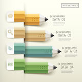 Creative template of pencil bar chart infographic