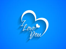 Creative text design of I Love You on blue color background. Stock Photo