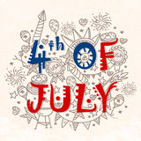 Creative Text with Doodle elements for 4th of July. American Flag colors text 4th of July with different doodle elements, Creative Greeting Card design for stock illustration