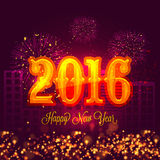 Creative text for Happy New Year 2016. Creative glossy text 2016 on shiny fireworks decorated urban city background for Happy New Year celebration stock illustration