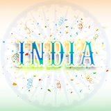 Creative Text for Indian Independence Day. Creative Text India on Ashoka Wheel decorated background for Happy Indian Independence Day and Republic Day Stock Photos