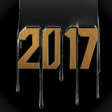 Creative text 2017. Creative oil text 2017. Gold numbers on black petroleum background royalty free illustration