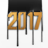 Creative text 2017. Creative oil text 2017. Gold numbers on petroleum background royalty free illustration
