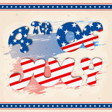 Creative Text for 4th of July celebration. Creative American Flag colors text 4th of July on abstract background, Elegant greeting card design for Independence Royalty Free Stock Photography