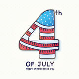 Creative text for 4th of July celebration. Creative text 4th of July in American Flag colors, Elegant greeting card design for Happy American Independence Day Stock Photo