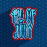 Creative text for 4th of July celebration. Creative text 4th of July on stars decorated blue background for American Independence Day celebration Stock Photo