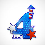 Creative text for 4th of July celebration. Creative text 4th of July with Stars and Firecracker on grey background for American Independence Day celebration Royalty Free Stock Images